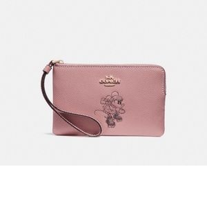 Coach x Mickey Mouse NWT pink wristlet